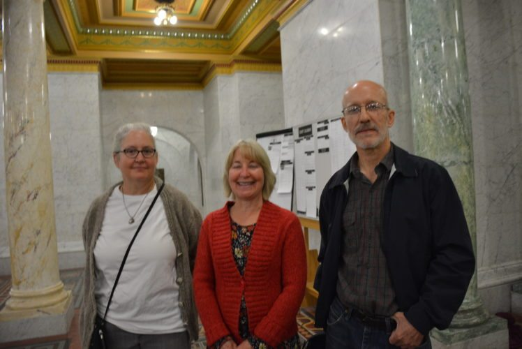 From left, Barbara Barrett, Ann Barrett Hicks and Robert Barrett attended an announcement of a gift from their mother's estate to the Allen County Courthouse Preservation Trust. (Photo by Lisa M. Esquivel Long of News-Sentinel.com)