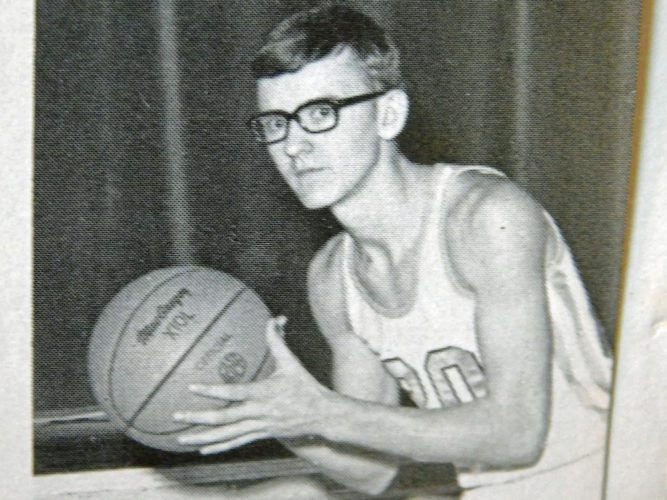 Rod Lautzenheiser, shown here in the 1969 South Adams yearbook, says that at 5-10, there was no way he could dunk as a high school player. But in a series of 1970s barn basketball games against a squad of Adams County Amish players, he got a boost off a barn beam for a memorable dunk.  (Courtesy photo)