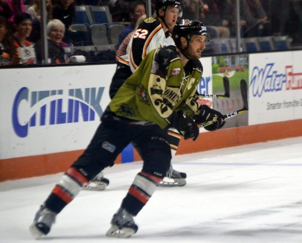 Komets captain Jamie Schaafsma joined Cody Sol and Garrett Thompson for a night out to dinner with former teammate Kyle Thomas in Utah. (By Blake Sebring, of News-Sentinel.com)