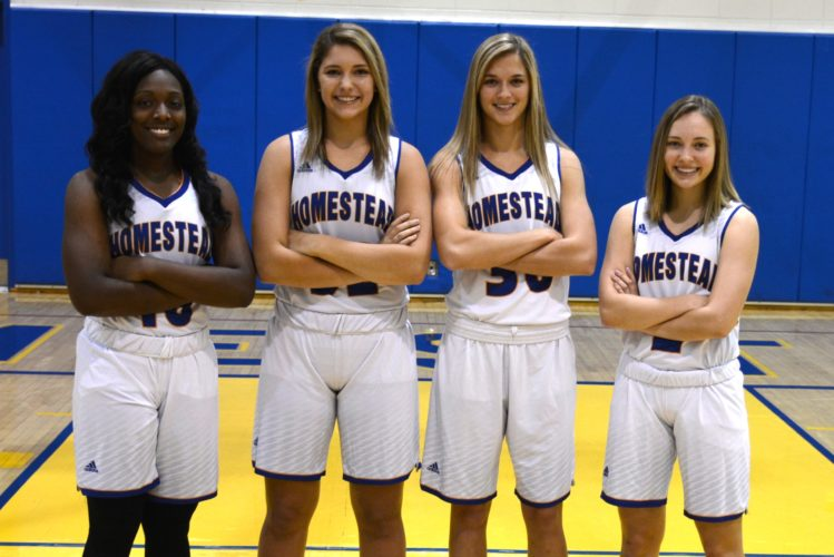 Homestead's Sylare Starks, Sydney Graber, Haley Swing and Kara Gealy. (Photo by Dan Vance of news-sentinel.com)