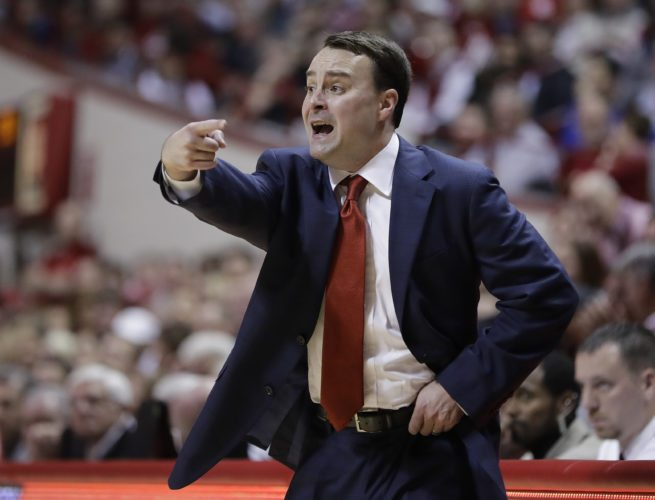 Indiana men's basketball coach Archie Miller shouts at his players during the first half of a recent game against Indiana State in Bloomington. (By The Associated Press)