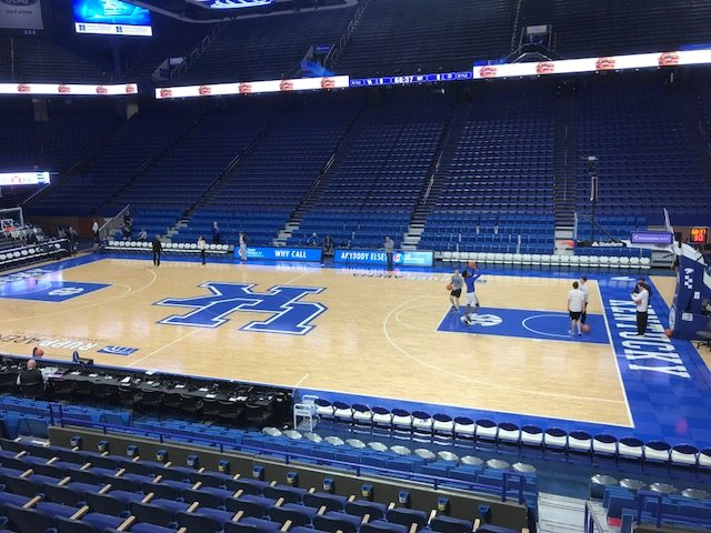 The basketball court at Rupp Arena in Lexington sits quietly prior to the game tonight between Kentucky and Fort Wayne. (By Tom Davis of News-Sentinel.com)