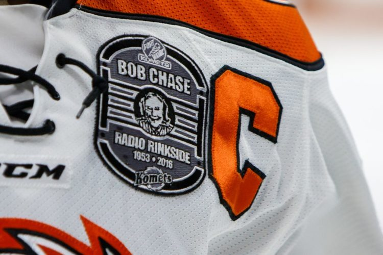 The Komets will continue selling patches commemorating the 63-year career of broadcaster Bob Chase at Saturday's home game against Cincinnati. (Photo courtesy of Fort Wayne Komets)