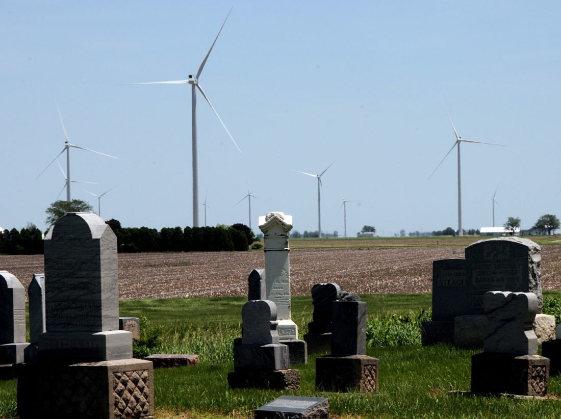 This wind farm just across the Ohio border on U.S. 30 contains 55 turbines featuring blades 160 feet long. They don't produce emissions, but that doesn't mean there's no environmental impact. (News-Sentinel file photo)