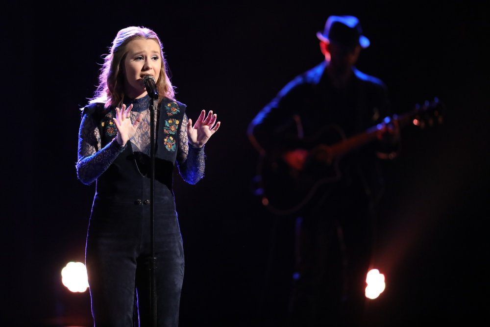 "Addison Agen of Fort Wayne drew high praise from celebrity coaches for her performance of Joni Mitchell's ""A Case of You"" during Monday night's live broadcast of ""The Voice."" (Photo by Tyler Golden/NBC)"