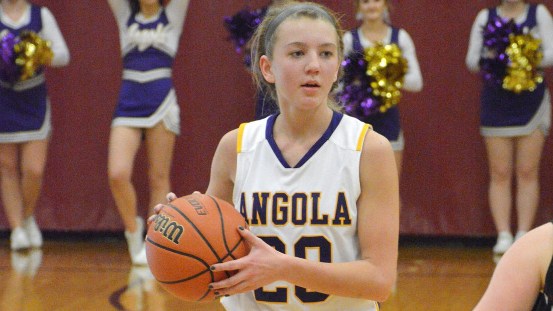 Angola's Ally Lorntz looks for a pass  during a February 3, 2017 Sectional semi- final game at Concordia Lutheran High School.  (Photo by Dan Vance of The News-Sentinel)