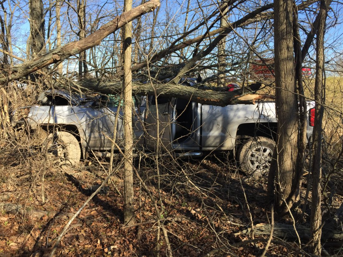 A Kendallville driver was injured when her vehicle crossed both lanes of Indiana 3 traffic and came to rest in some trees, according to the DeKalb County Sheriff's Department. (Photo courtesy of the DeKalb County Sheriff's Department)