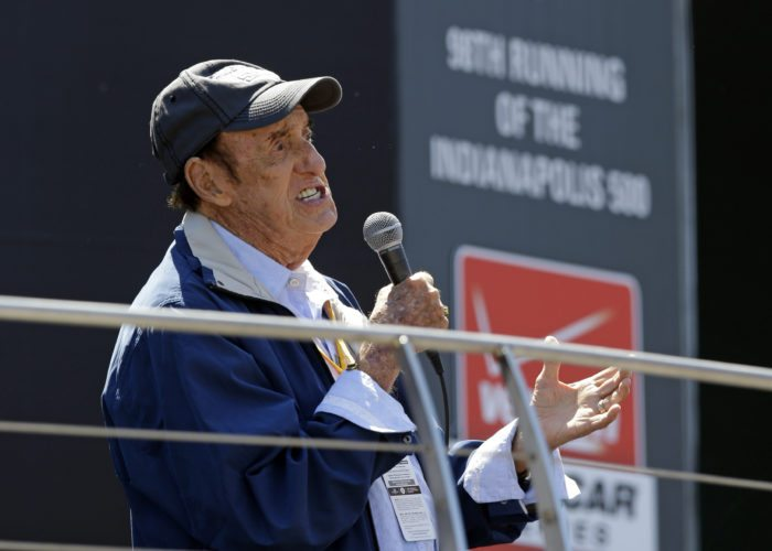 """Jim Nabors sings """"(Back Home Again in) Indiana"""" for the final time before the start of the 98th running of the Indianapolis 500 in 2014. (Associated Press file photo)"""