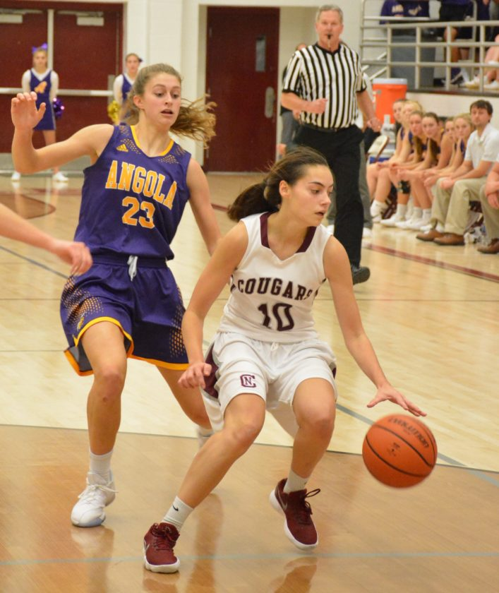Central Noble junior Sydney Freeman led the Cougars with 15 points Friday in a loss to Angola. (Photo by Justin Kenny of news-sentinel.com)