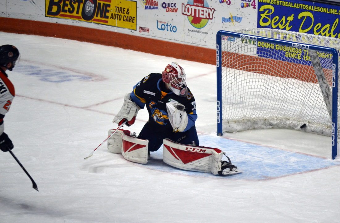 Shawn Szydlowski scores the game-winning goal during the shootout Friday night against Toledo. (By Blake Sebring of News-Sentinel.com)