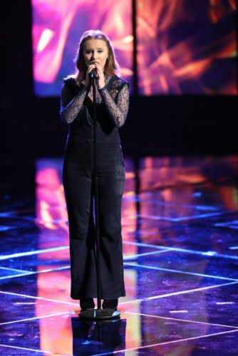 "Addison Agen, 16, of Fort Wayne, will try to advance to the Final Eight contestants during during the live broadcast of ""The Voice"" at 8 p.m. Monday on NBC. (Photo by Tyler Golden/NBC)"