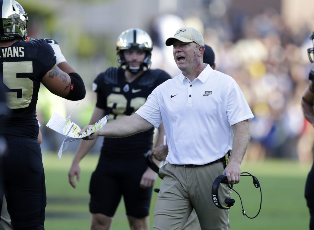 Purdue head coach Jeff Brohm yells to an official during a game against Michigan on Sept. 23 at Purdue. (Photo by the Associated Press)