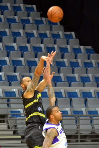 Fort Wayne Mad Ants guard Trey McKinney-Jones launches a jumper during the second quarter Monday night against Reno. (By Blake Sebring of News-Sentinel.com)