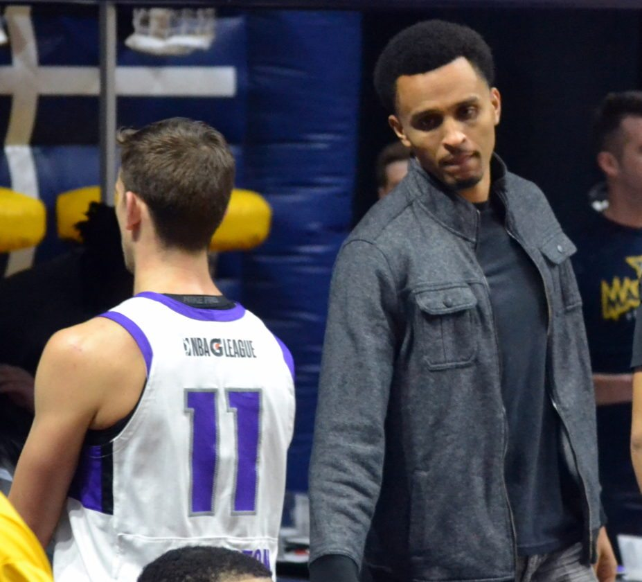 Because of an ankle injury, Snider graduate Reggie Hearn, right, had to miss playing in Monday's Reno-Fort Wayne game. (By Blake Sebring of News-Sentinel.com)