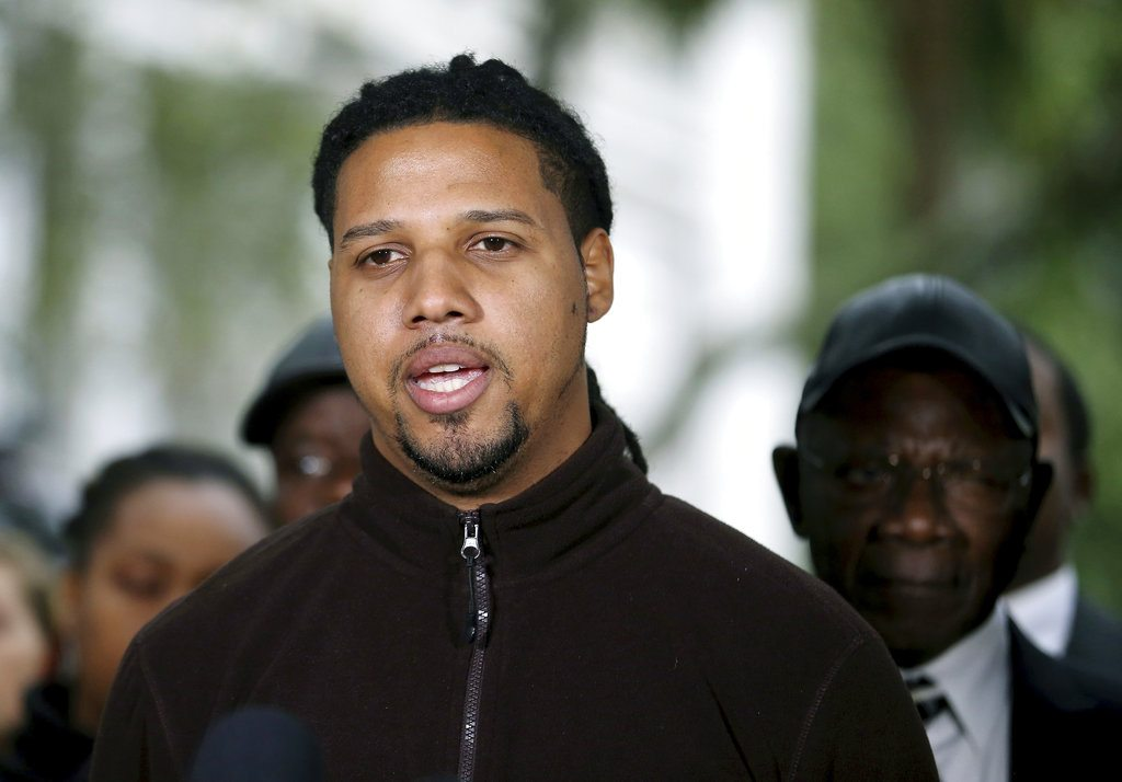 CORRECTS SPELLING OF FIRST NAME TO FEIDIN INSTEAD OF FEIDEN - Feidin Santana, who made the cell video showing former North Charleston Police Officer Michael Slager's fatal encounter with Walter Scott, talks with the press after Slager was sentenced to 20 years in prison for the 2015 shooting death of Scott Thursday, Dec. 7, 2017, in Charleston, S.C. (Grace Beahm Alford/The Post And Courier via AP)
