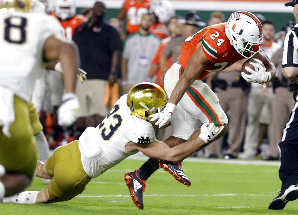 Notre Dame linebacker and Carroll High School product Drue Tranquill announced Friday he will return next season. (Associated Press file photo)