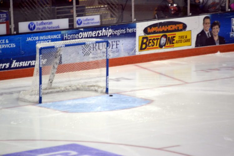 The puck slides into the Fort Wayne net during the first period Saturday night to provide one of the odder goals in Komets' history. (By Blake Sebring of News-Sentinel.com)