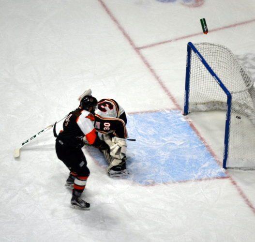 Komets foward Mason Baptista scores the game-winning goal on a breakaway Saturday against Quad City goaltender C.J. Motte. (By Blake Sebring of News-Sentinel.com)