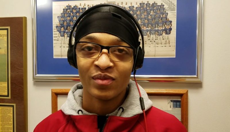 Qamari Hassan stopped to talk during a visit to the Saint Francis football office Tuesday. (Photo by Reggie Hayes of news-sentinel.com)