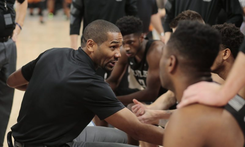 Butler men's basketball coach LaVall Jordan talks with his team before playing Texas in a recent game during the Phil Knight Invitational tournament in Portland, Ore. (By The Associated Press)