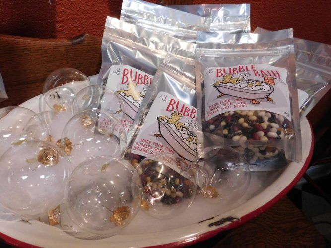 """A display at the Olive Twist, Covington Plaza, shows a soup bean mix called """"Indiana Bubble Bath."""" The $8.99 packet contains a beautiful mix of organic beans grown by DeCamp Gardens in Albion.  (Photo by Tanya Isch Caylor for The News-Sentinel)"""