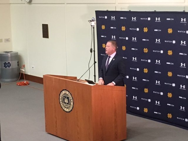 Notre Dame football coach Brian Kelly speaks to the media last February on National Signing Day at the Guglielmino Athletics Complex in South Bend. (By Tom Davis of News-Sentinel.com)