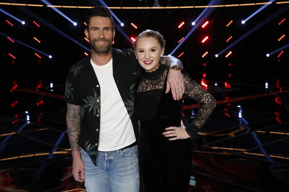 """Fort Wayne's Addison Agen, right, with advice from celebrity coach Adam Levine, competes Monday night in the finals of vocal talent competition TV show """"The Voice."""" (Photo by Trae Patton/NBC)"""