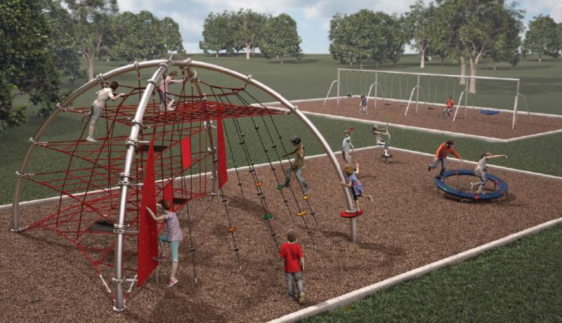 Lions Park will receive playground equipment for ages 6-12 that includes the Performer Dome climber, which features multiple levels of durable and vandal-resistant cable netting strung from curved support poles that meet in the middle to form a dome. (Courtesy of Fort Wayne Parks and Recreation Department)