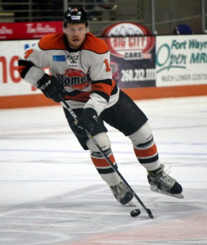 Gabriel Desjardins scored two goals Friday night in the Komets' 5-2 win over Indy. (By Blake Sebring of News-Sentinel.com)