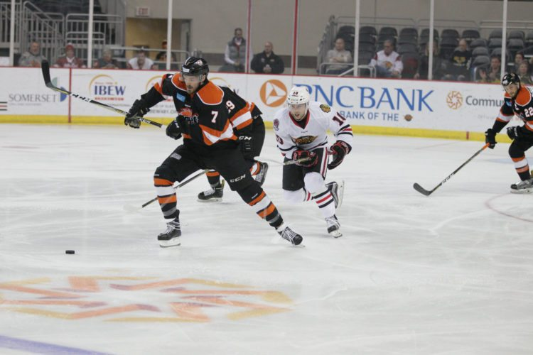 Komets defenseman Dan Maggio leads the rush up-ice during the first period Saturday night at Indy. (Photos courtesy of Whiteshark Photography,)
