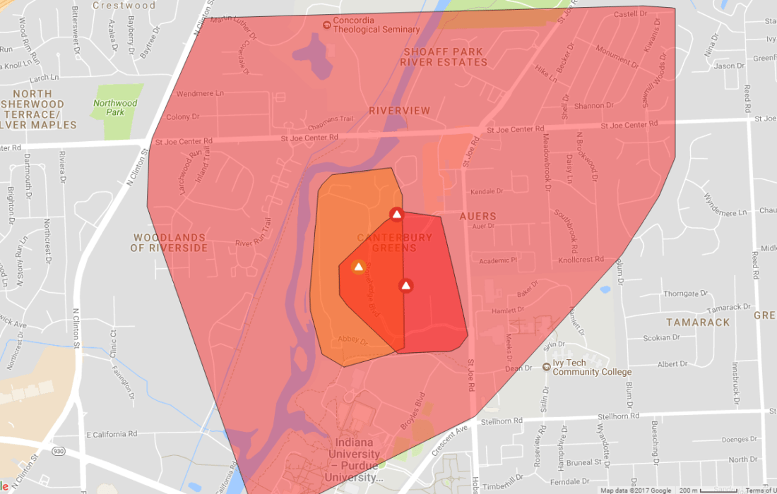 A power outage is affecting a portion of Fort Wayne near Canterbury Green apartments and the campus of IPFW. (Map courtesy of AEP)