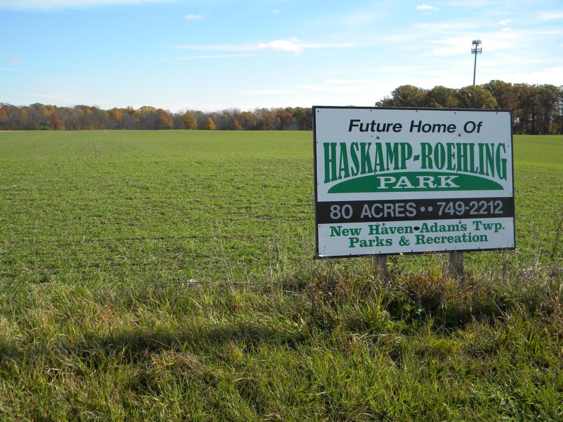 The New Haven-Adams Township Parks and Recreation Department, which owns the land for the future Haskamp-Roehling Park on Hartzell Road, may collaborate with the Allen County Parks Department to plan development of the park and to provide programming there. (By Kevin Kilbane of News-Sentinel.com)