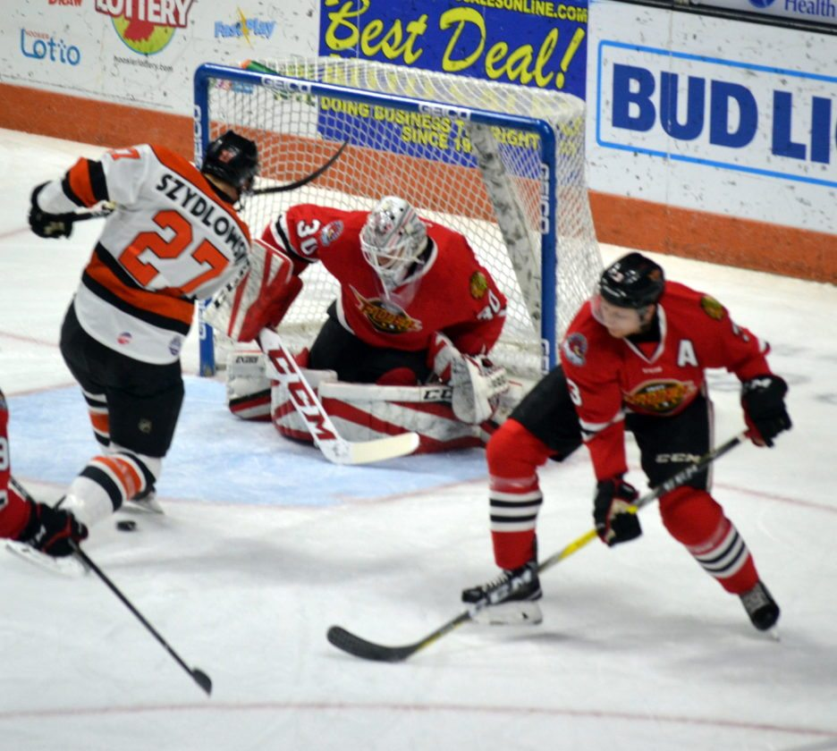 At 6-foot-3, Indy goaltender Matt Tompkins is about average size for an ECHL goaltender this season. (By Blake Sebring of News-Sentinel.com)