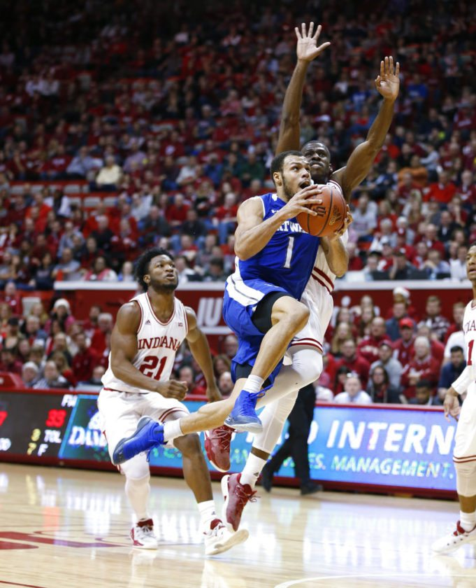 Bryson Scott and the Fort Wayne Mastodons knocked off Indiana for the second consecutive year on Monday night. (By The Associated Press)