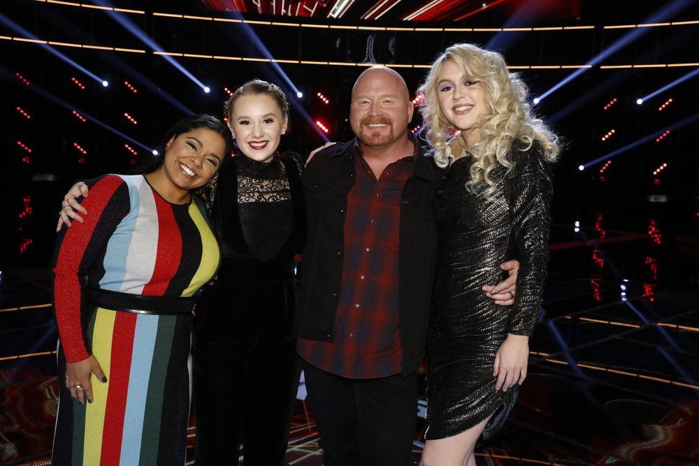 """""""The Voice"""" Final Four, from left, Brooke Brooke Simpson, Addison Agen, Red Marlow and Chloe Kohanski, dominated the iTunes Top 200 Songs chart shortly after """"The Voice"""" live competition show ended Monday night.  (Courtesy of NBC)"""