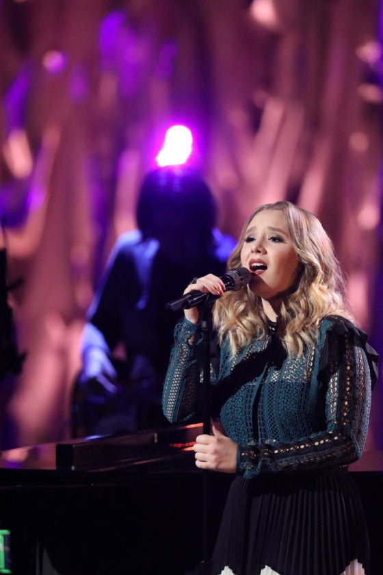 "Addison Agen performed with Norah Jones on Jones' ""Don't Know Why"" during ""The Voice"" live results show  on NBC. (Photo by Tyler Golden/NBC)"