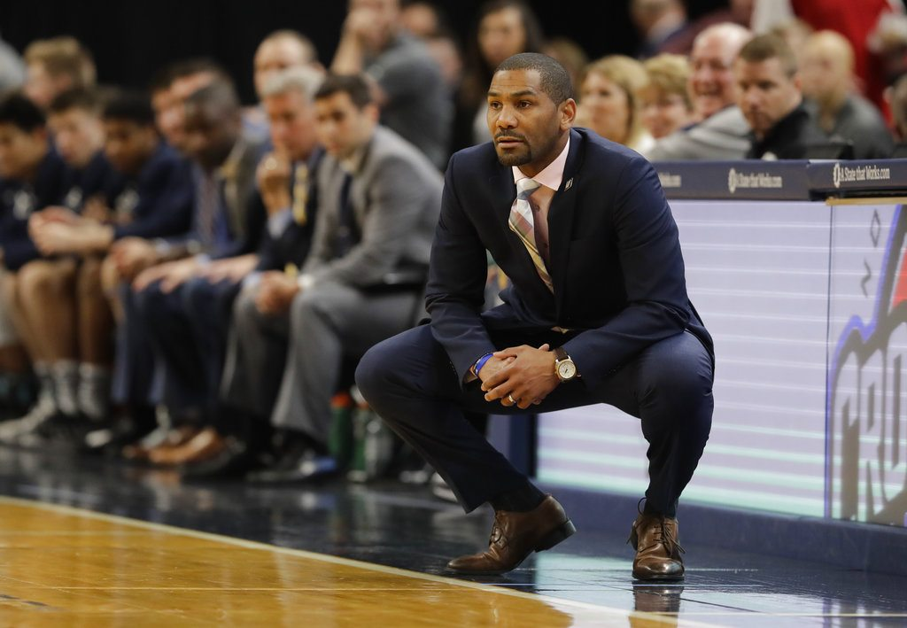 Butler men's basketball coach LaVall Jordan watches his team compete during a recent game againt Purdue at Bankers Life Fieldhouse in Indianapolis. (By The Associated Press)
