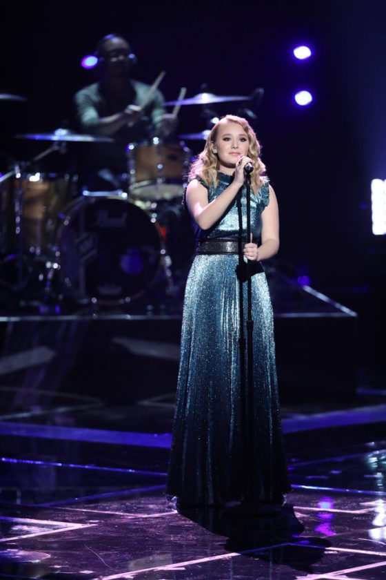 """Addison Agen sang """"Humble and Kind"""" Dec. 18 during the final performance show on """"The Voice."""" (Photo by Tyler Golden/NBC)"""