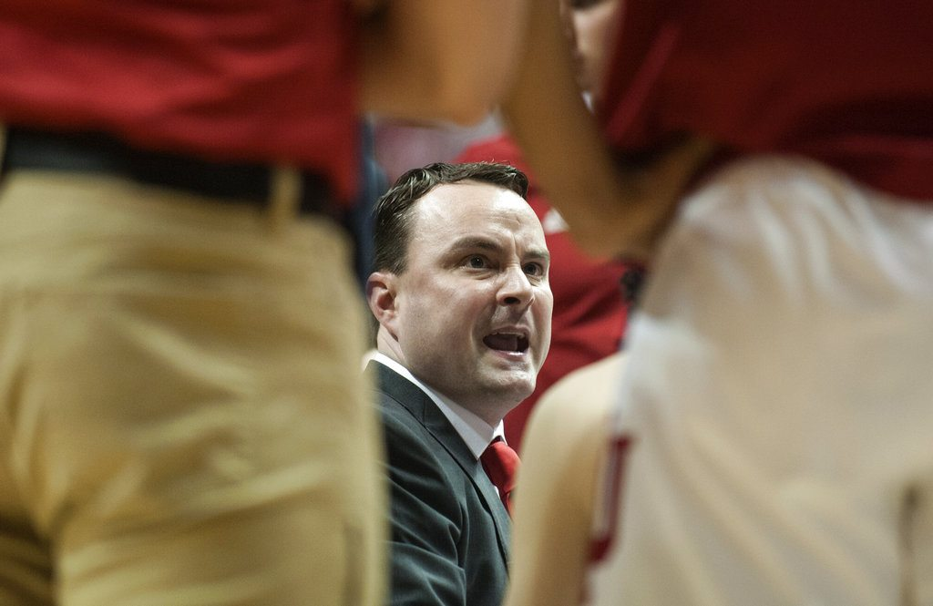 Indiana men's basketball coach Archie Miller talks to his team during a timeout after a slow start during the first half against Tennessee Tech in a game in Bloomington Thursday. (By The Associated Press)