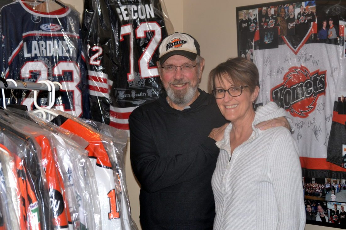 Bill Oberg and Sue Hansen and some of their 42 Komets jerseys. (By Blake Sebring of News-Sentinel.com)