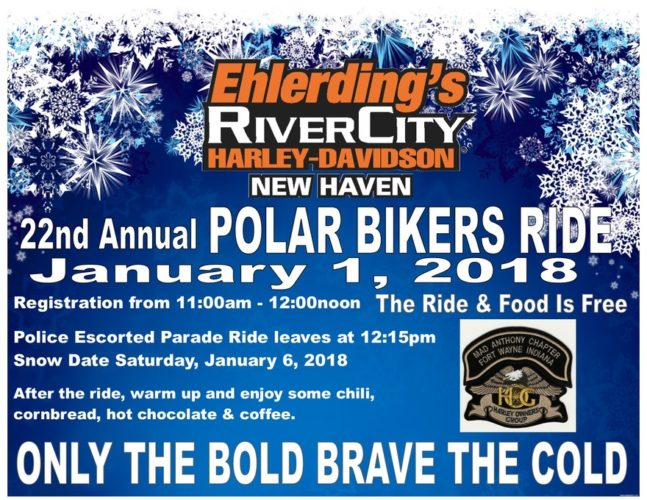 22nd annual Polar Bikers Ride to benefit Honor Flight of Northeast Indiana. (Courtesy of Ehldering's)