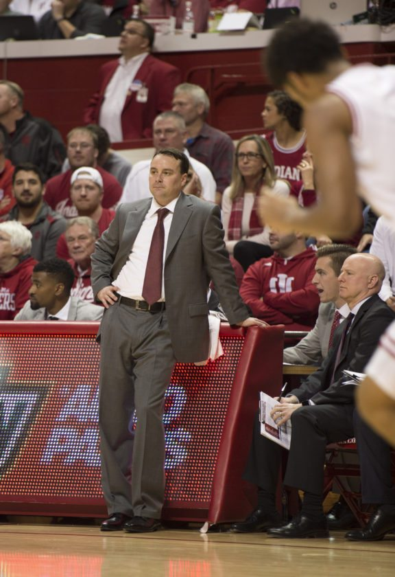 Indiana University men's basketball coach Archie Miller looks on during a game earlier this season against Howard in Bloomington. A similar game will be in jeopardy of occuring next season after the Big Ten increases its schedule from 18 to 20 games. (By The Associated Press)