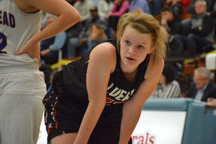 Bishop Luers senior Kathryn Knapke scored 24 points Thursday evening in the Knights' upset win over Homestead. Can she continue her hot play in the semifinals? (Photo by Dan Vance of news-sentinel.com)