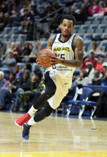 Fort Wayne Mad Ants guard Walt Lemon Jr. has started a trend this year by wearing mismatched shoes during games. He also leads the team at 23 points per game. (Photo courtesy of  Cary Gerber)