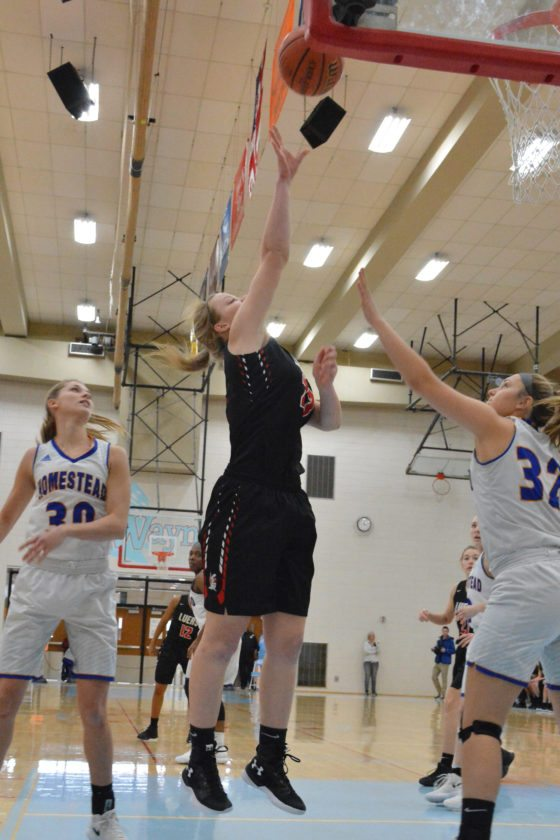 Bishop Luers' Kathryn Knapke hits a shot over the Homestead defense during last week's SAC Holiday Tournament. (Photo by Dan Vance of news-sentinel.com)