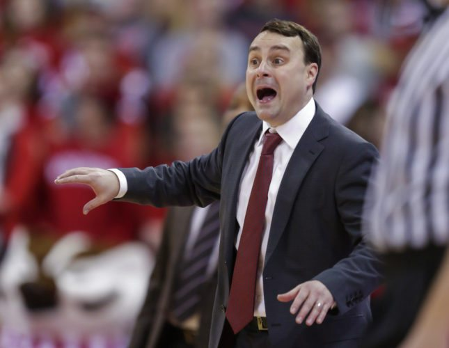 Indiana men's basketball coach Archie Miller yells to his team during the second half of a game against Wisconsin on Tuesday in Madison, Wis. (By The Associated Press)