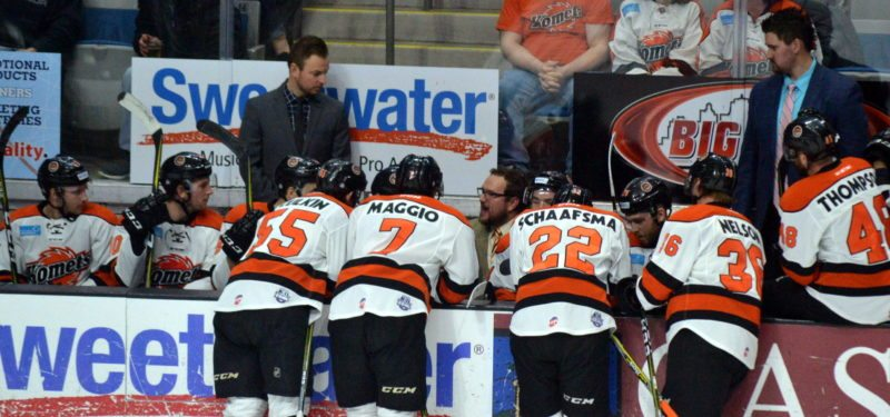 Komets coach Gary Graham tried to turn the momentum with a time out after Kalamazoo took a 3-0 lead Wednesday night, but it was already too late. (By Blake Sebring of News-Sentinel.com)