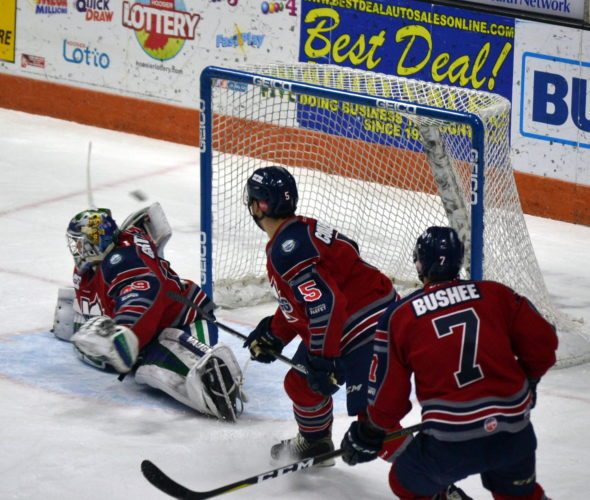 Mason Baptista scored Fort Wayne's first goal during the first period. (By Blake Sebring of News-Sentinel.com)