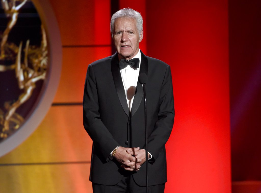 "FILE - In this April 30, 2017 file photo, Alex Trebek speaks at the 44th annual Daytime Emmy Awards at the Pasadena Civic Center in Pasadena, Calif. Longtime ""Jeopardy"" host Trebek had surgery for blood clots on the brain, but says he'll be back behind the podium soon. Trebek appeared in a video on the ""Jeopardy"" Facebook page Thursday, Jan. 5, 2018, to announce that he'd had the surgery during the show's holiday break. (Photo by Chris Pizzello/Invision/AP, File)"