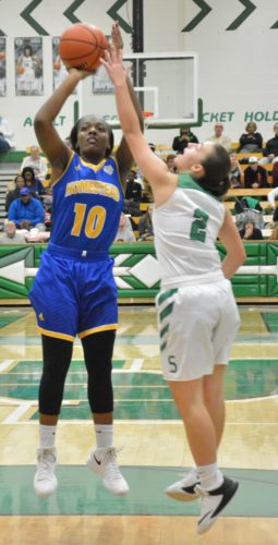 Homestead junior Sylare Starks pulls up for a shot over South Side sophomore Jaci Jones on Friday night. (Photo by Justin Kenny of news-sentinel.com)